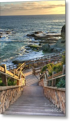 Metal Print featuring the photograph Steps To Treasure Island Beach by Eddie Yerkish