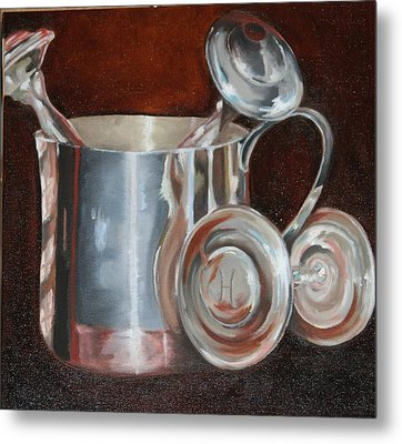 Sterling Baby Rattles In A Baby Cuo Metal Print by Amy Higgins