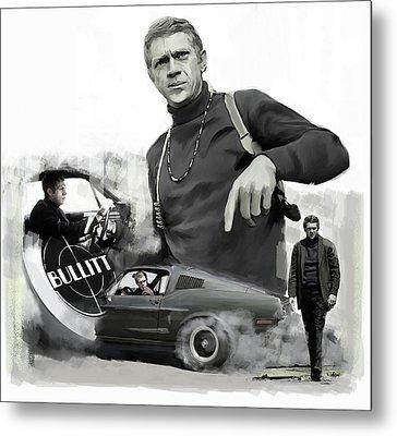 Steve Mcqueen Bullitt Mcqueen  Metal Print by Iconic Images Art Gallery David Pucciarelli