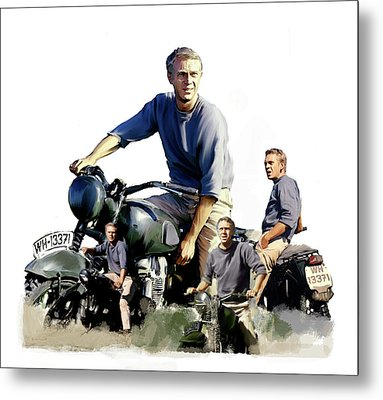Steve Mcqueen  Captain Hilts Great Escape Metal Print by Iconic Images Art Gallery David Pucciarelli
