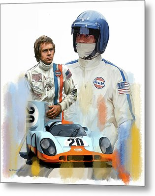 Steve Mcqueen Driving Force Metal Print by Iconic Images Art Gallery David Pucciarelli