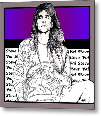 Metal Print featuring the mixed media Steve Vai Sitting by Curtiss Shaffer