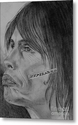 Metal Print featuring the drawing Steven Tyler Portrait Drawing Image Picture by Jeepee Aero