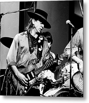 Metal Print featuring the photograph Stevie Ray Vaughan 3 1984 Bw by Chris Walter