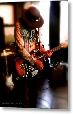 Metal Print featuring the photograph Stevie Ray Vaughan Reflections   by Iconic Images Art Gallery David Pucciarelli