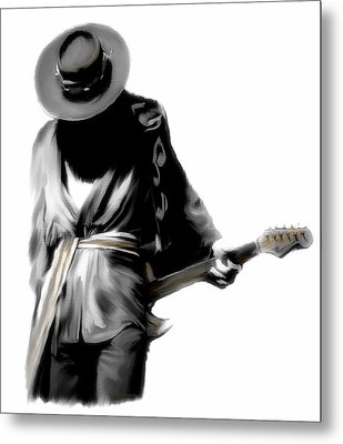 Stevie Ray Vaughan Shadowing Soul Metal Print by Iconic Images Art Gallery David Pucciarelli
