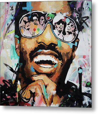 Stevie Wonder Portrait Metal Print