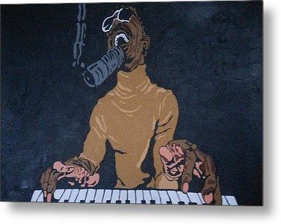 Metal Print featuring the painting Stevie Wonder by Rachel Natalie Rawlins