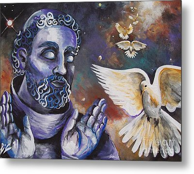 St.francis And The Birds Metal Print by Olivia Candille