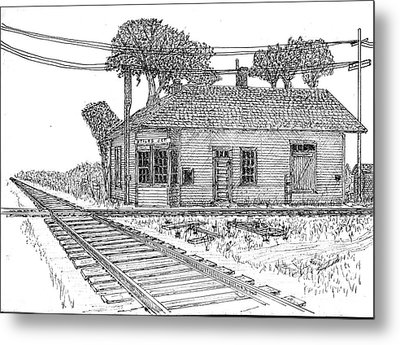 Metal Print featuring the drawing Stiles Jct Depot by Jack G  Brauer