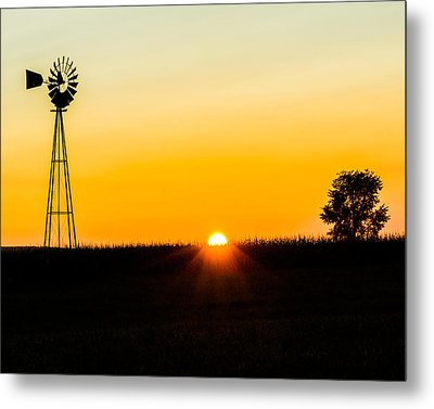 Metal Print featuring the photograph Still Country Sunset Silhouette by Chris Bordeleau