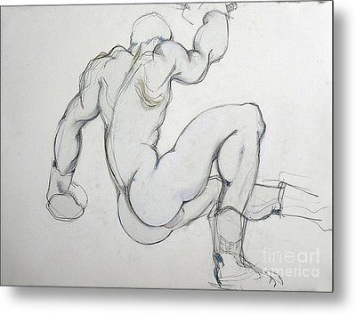 Metal Print featuring the drawing Still In The Game - 2 by Carolyn Weltman