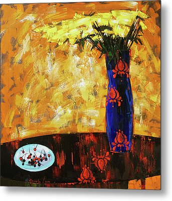 Metal Print featuring the painting Still Life. Cherries For The Queen by Anastasija Kraineva