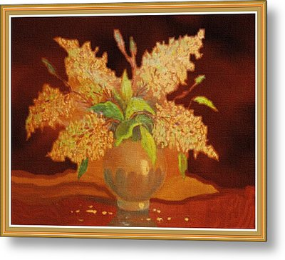 Still Life For Mathilda H B With Decorative Ornate Printed Frame. Metal Print by Gert J Rheeders