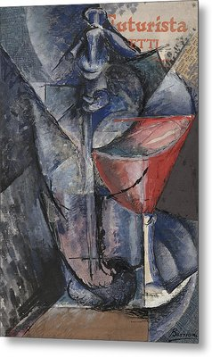 Still Life  Glass And Siphon Metal Print by Umberto Boccioni
