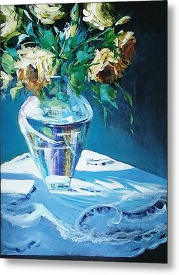 Still Life In Glass Vase Metal Print