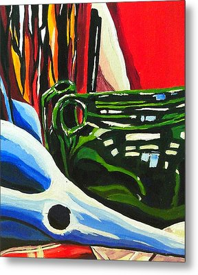 Still Life In Red Blue Green Metal Print by Amy Williams