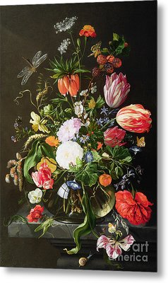 Still Life Of Flowers Metal Print by Jan Davidsz de Heem