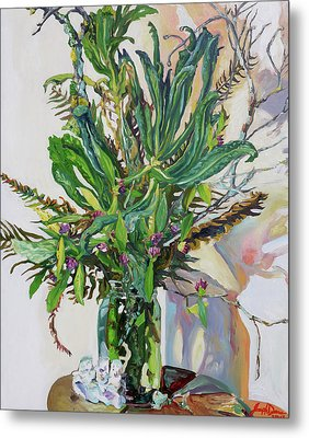 Still Life Of Kale, Fallen Twigs And Other Things That Survived The Storm Metal Print