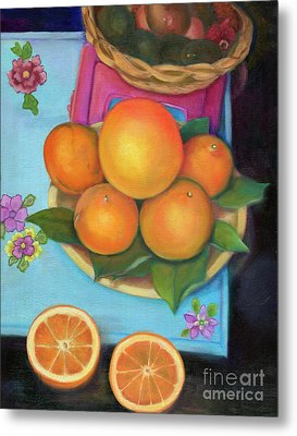 Still Life Oranges And Grapefruit Metal Print