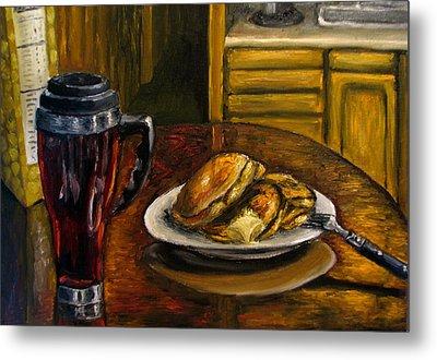 Still Life Pancakes And Coffee Painting Metal Print by Natalja Picugina