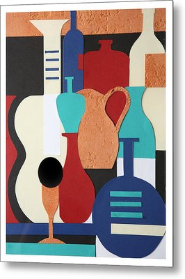 Still Life Paper Collage Of Wine Glasses Bottles And Musical Instruments Metal Print by Mal Bray