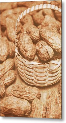 Still Life Peanuts In Small Wicker Basket On Table Metal Print by Jorgo Photography - Wall Art Gallery