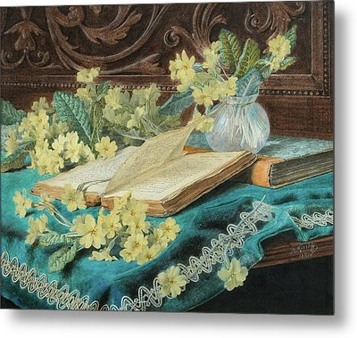 Still Life With A Book And Flowers Metal Print by MotionAge Designs