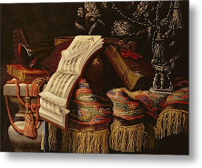 Still Life With A Book Of Sheet Music Metal Print by Francesco Fieravino