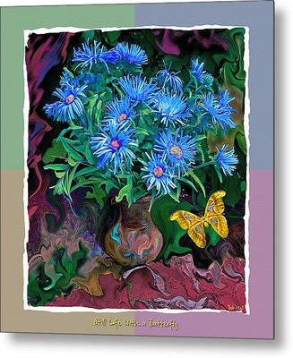 Still Life With A Butterfly Metal Print by Vladimir Kholostykh