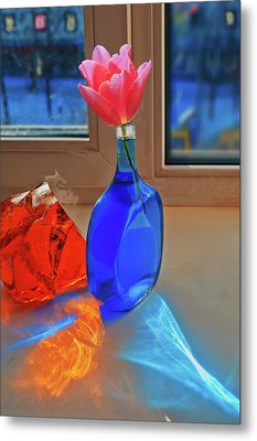 Still Life With A Flower Metal Print by Vladimir Kholostykh