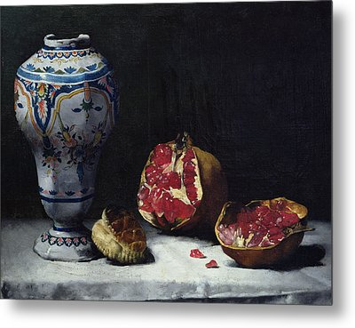 Still Life With A Pomegranate Metal Print by Auguste Theodule Ribot