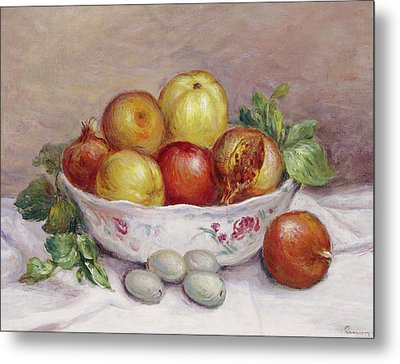 Still Life With A Pomegranate Metal Print by Pierre Auguste Renoir