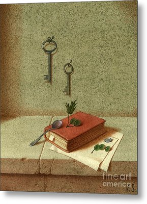 Still Life With A Small Book Metal Print