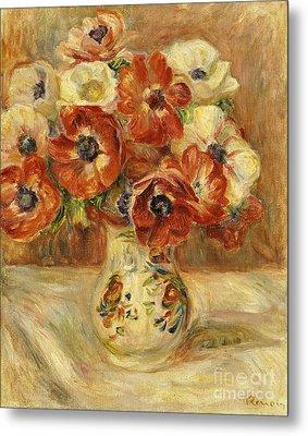 Still Life With Anemones  Metal Print by Pierre Auguste Renoir
