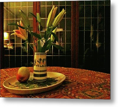 Metal Print featuring the photograph Still Life With Apple by Anne Kotan