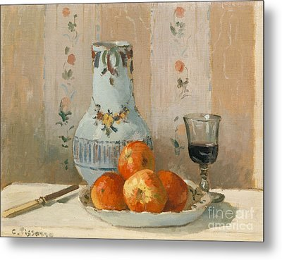 Still Life With Apples And Pitcher, 1872  Metal Print