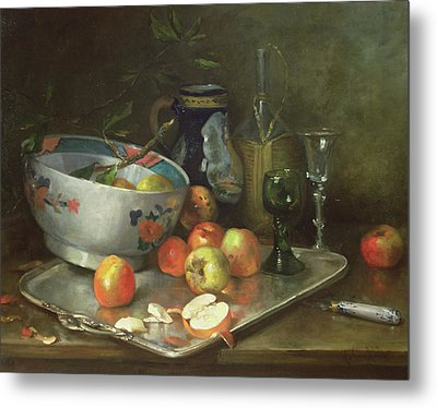 Still Life With Apples Metal Print by Eugene Henri Cauchois