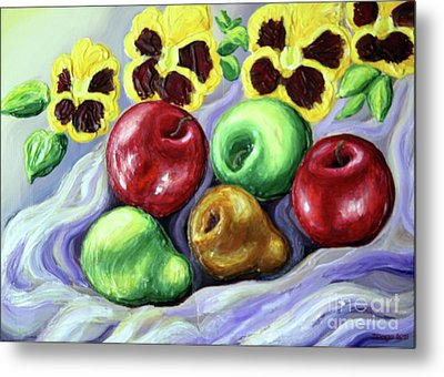 Metal Print featuring the painting Still Life With Apples by Inese Poga