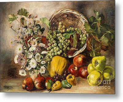 Still Life With Asters And Basket Of Fruit Metal Print by Celestial Images