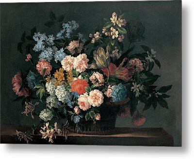 Still Life With Basket Of Flowers Metal Print by Jean-Baptiste Monnoyer