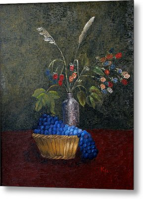 Still Life With Blue Fruit Metal Print by Karin Eisermann