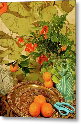 Still Life With Blue Scissors Metal Print