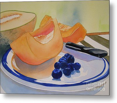 Still Life With Blueberries Metal Print by Teresa Boston