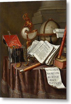 Still Life With Books A Globe Nautilus Chalice Metal Print by MotionAge Designs