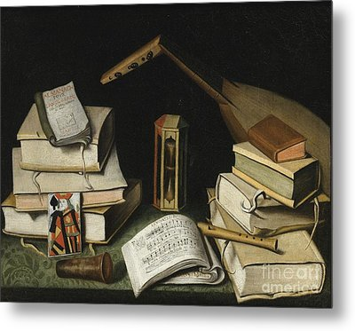 Still Life With Books Metal Print by Celestial Images