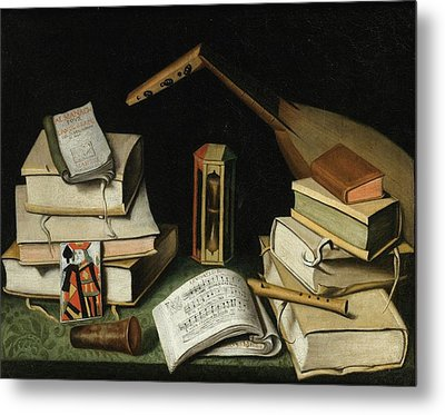 Still Life With Books Metal Print by MotionAge Designs