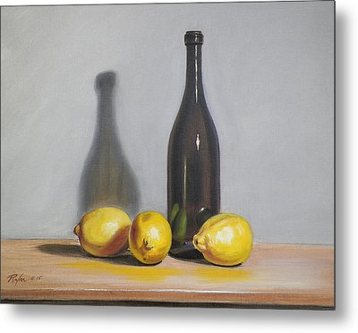 Still Life With Brown Bottle And Lemons Metal Print