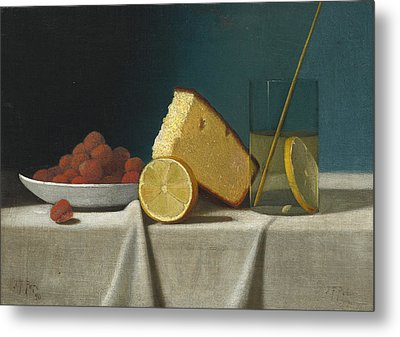 Still Life With Cake - Lemon Strawberries And Glass Metal Print