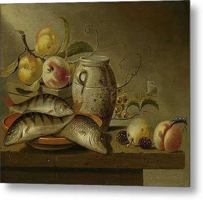 Still Life With Clay Jug, Fish And Fruits Metal Print